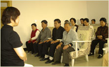 Patients at the Medical Qigong Hospital in Beidaihe, China practising Jing Gong